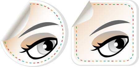 label set woman brown eye with pastel color makeup Vector