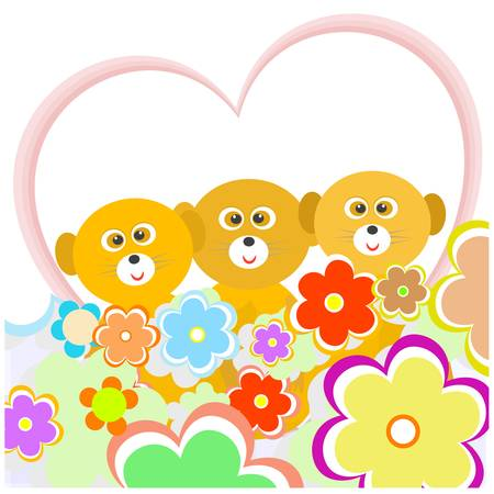 cartoon lemur with many flowers and heart  vector Vector