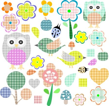 applique flower: set of nature and wildlife objects isolated on white