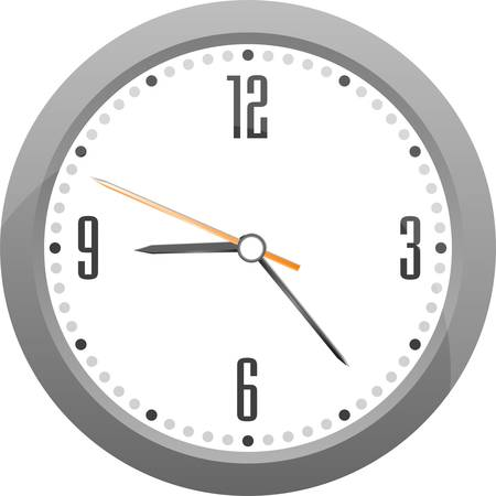 detailed vector gray clock isolated on white Stock Vector - 12632784