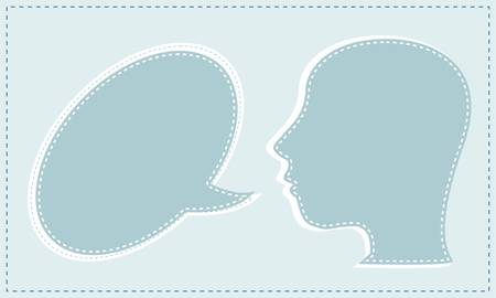 divergence: Abstract speaker with speech bubbles in the head. vector