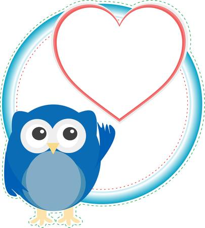 valentine cute owl boy with heart. holiday vector card Vector