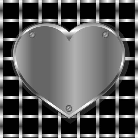 forge: Brushed metal heart on a perforated metal vector background
