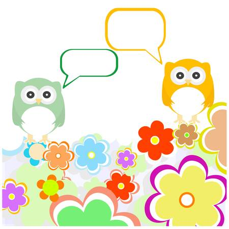 wedding night: owl family with flowers and speech bubbles. vector