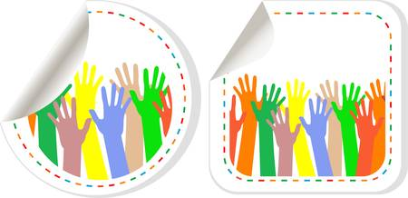 Multicolored Hand shaped promotional stickers set Stock Vector - 12632712