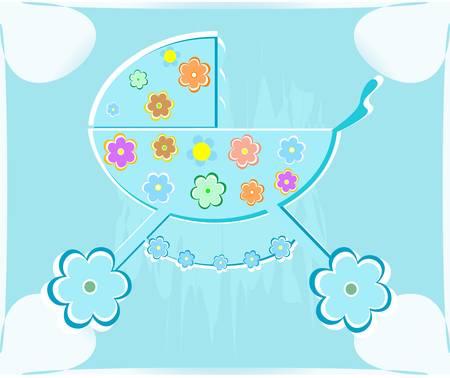 card for babyshower. perambulator for boy Vector