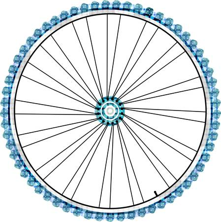 chrome wheels: Bike wheel isolated on white background. vector illustration