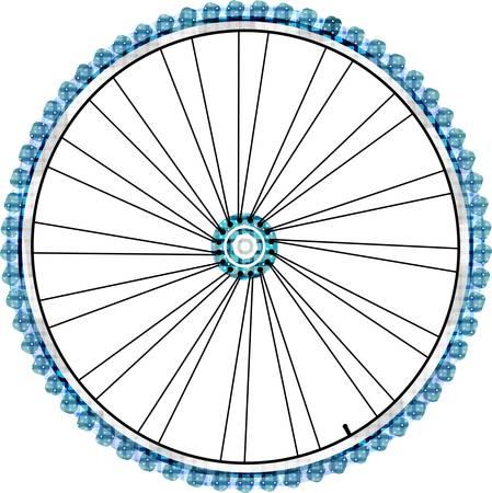 Rueda de bicicleta sobre fondo blanco. ilustración vectorial