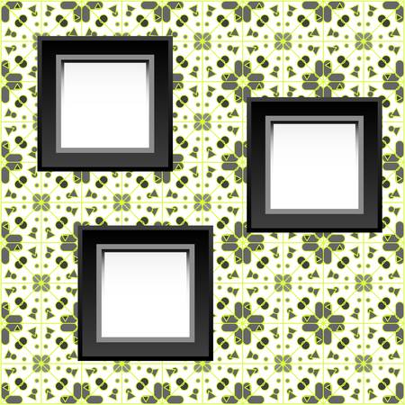 three blank white frames on baroque wallpaper. vector illustration Vector