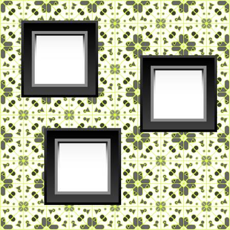 three blank white frames on baroque wallpaper. vector illustration Stock Vector - 12632771