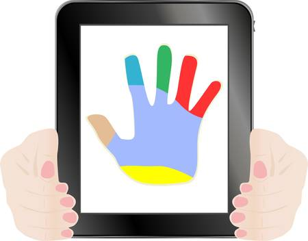 Black tablet pc with vector hand on the screen Vector