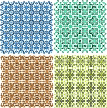 Vintage old plaid abstract patterns set vector design Vector