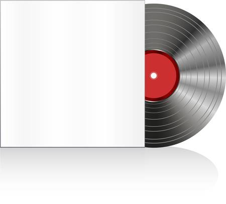 Black vinyl disc with cover. old vector record Illustration