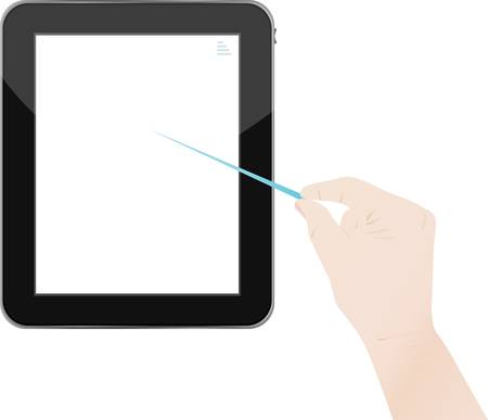 input device: Hands holding and point on digital tablet Illustration