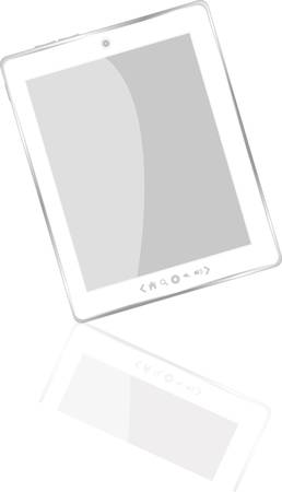 White abstract tablet pc on white background, 3d render Illustration