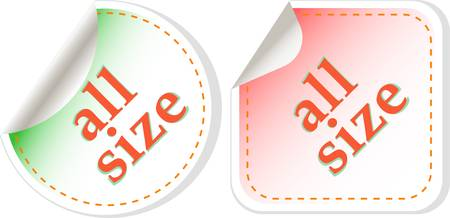 all size clothing stickers label set Vector