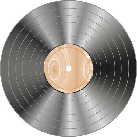 vinyl wooden record isolated on white Vector