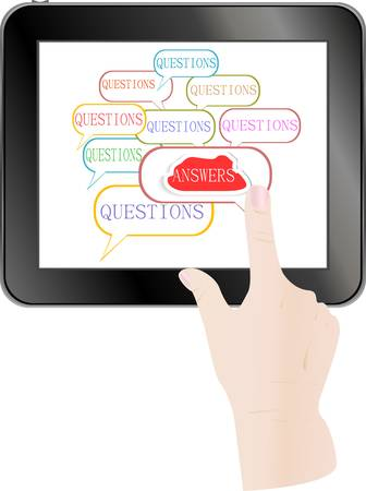 Hand check answer cloud on Touch screen of Tablet PC Vector