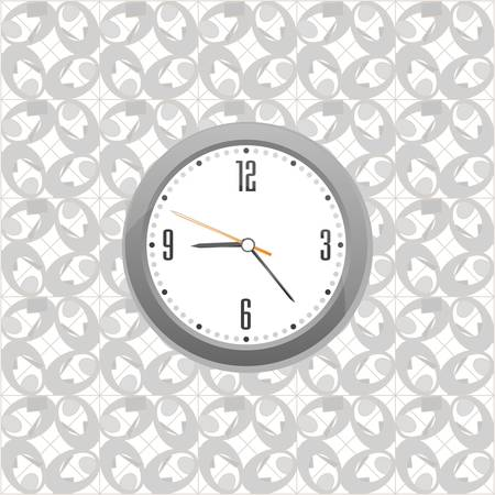 grey clock on wall pattern style background Vector