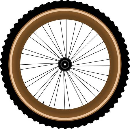 bike parts: Front wheel of a mountain bike isolated on white background Illustration