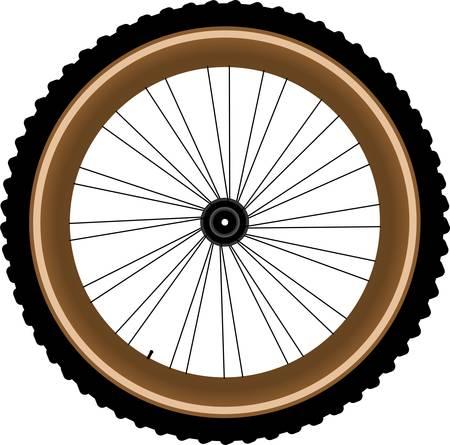 exercise bike: Front wheel of a mountain bike isolated on white background Illustration