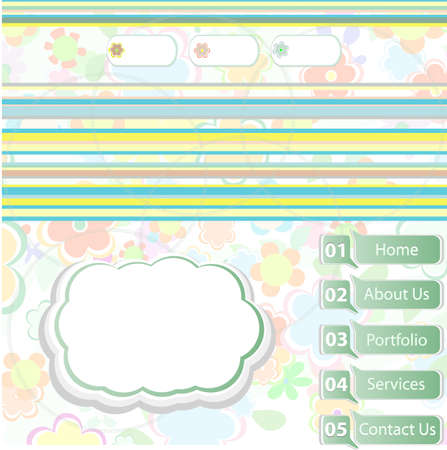 vector elegant modern website template with illustrated beautiful floral background photo
