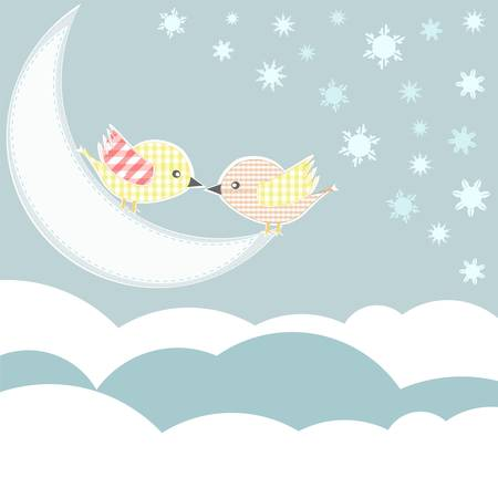 owls: bird with love kiss in sky clouds