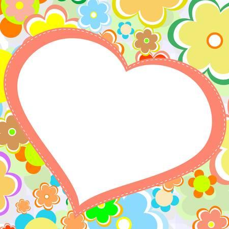 beautiful bright flower heart  vector card Vector