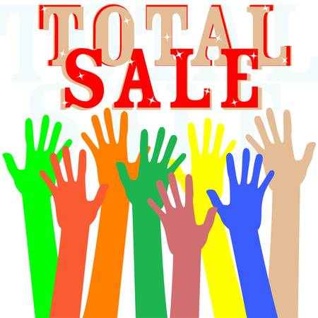 Hand with total sale word isolated in white Stock Vector - 13201487