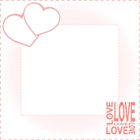 heart with text: Valentine Day card with two hearts