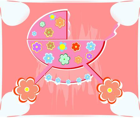 perambulator: carta per perambulator vettore bambino ragazza
