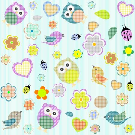 Seamless flowers and owl pattern in vector Vector