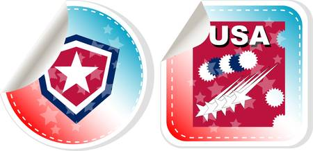 Stickers label set Made in USA Vector