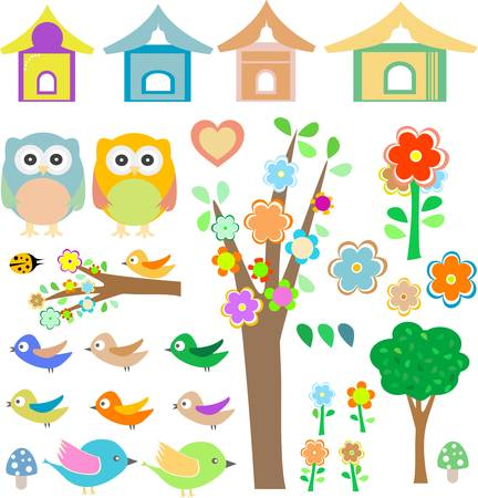 birdhouse: vector set birds with birdhouses, owls, trees and flowers Illustration
