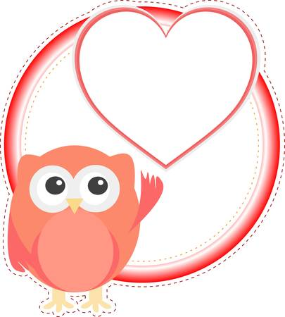 valentine cute owl girl with heart. holiday vector card Stock Vector - 13293130