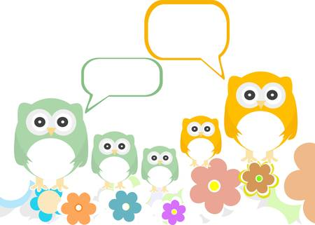 owl family with flowers and speech bubbles. Vector
