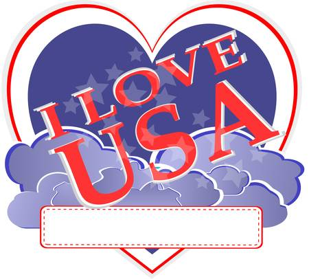 american independence day - usa heart shape design  Vector