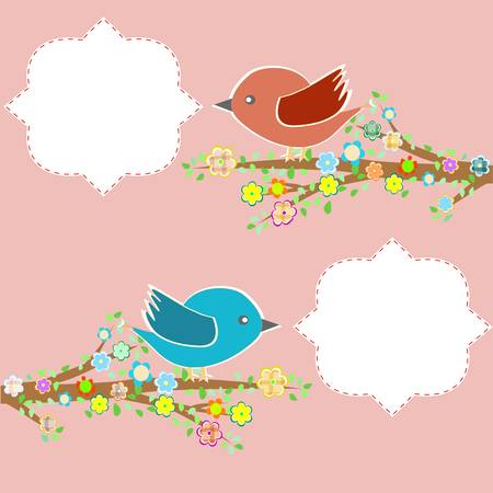 two birds in the trees with speech bubbles on floral tree branch Stock Vector - 13293289