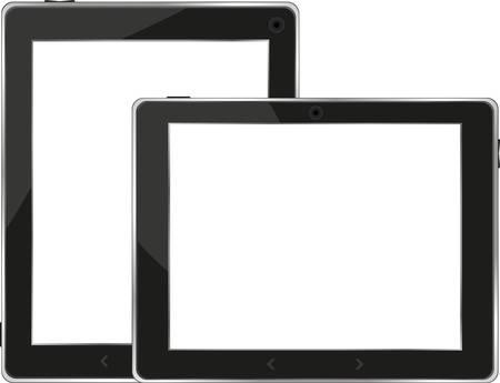 Black tablet pc set on white background Stock Vector - 13293164