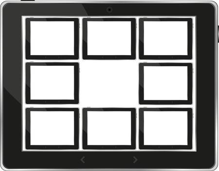Black tablet pc set with white screen. Object isolated of background Stock Vector - 13293236