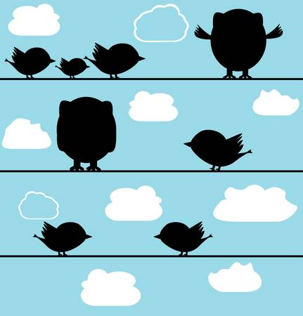Silhouette of birds owl on a wire with clouds Vector