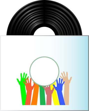 Vinyl record disk in box on white background with many hands Stock Vector - 13293355