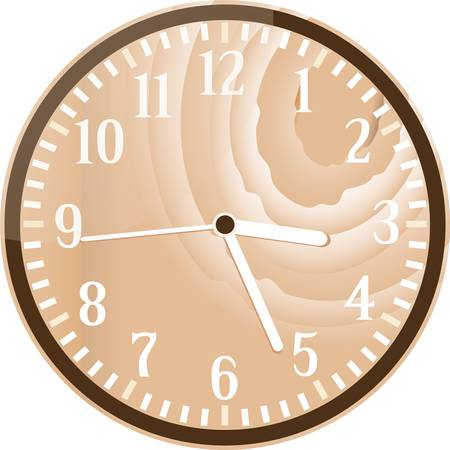 Wall retro wood clock isolated on white Vector
