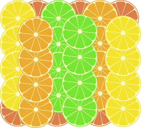 citrus fruits pattern background - grapefruit, lemon, lime Vector