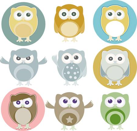 illustration of colorful owls with nine color combinations Vector