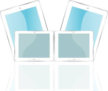 White tablet pc with blue screen. Object with reflection of background Vector