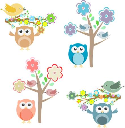 Blooming tree and branches with sitting birds and owls set