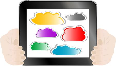 Woman hand holding tablet pc with abstract cloud Stock Vector - 13414825
