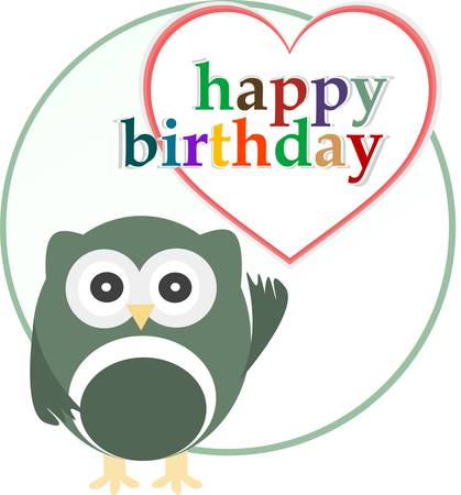happy birthday party card with cute owl. vector Vector