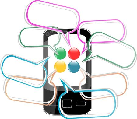 iphon: Smart Phone with speech bubble. Created digitally vector Illustration